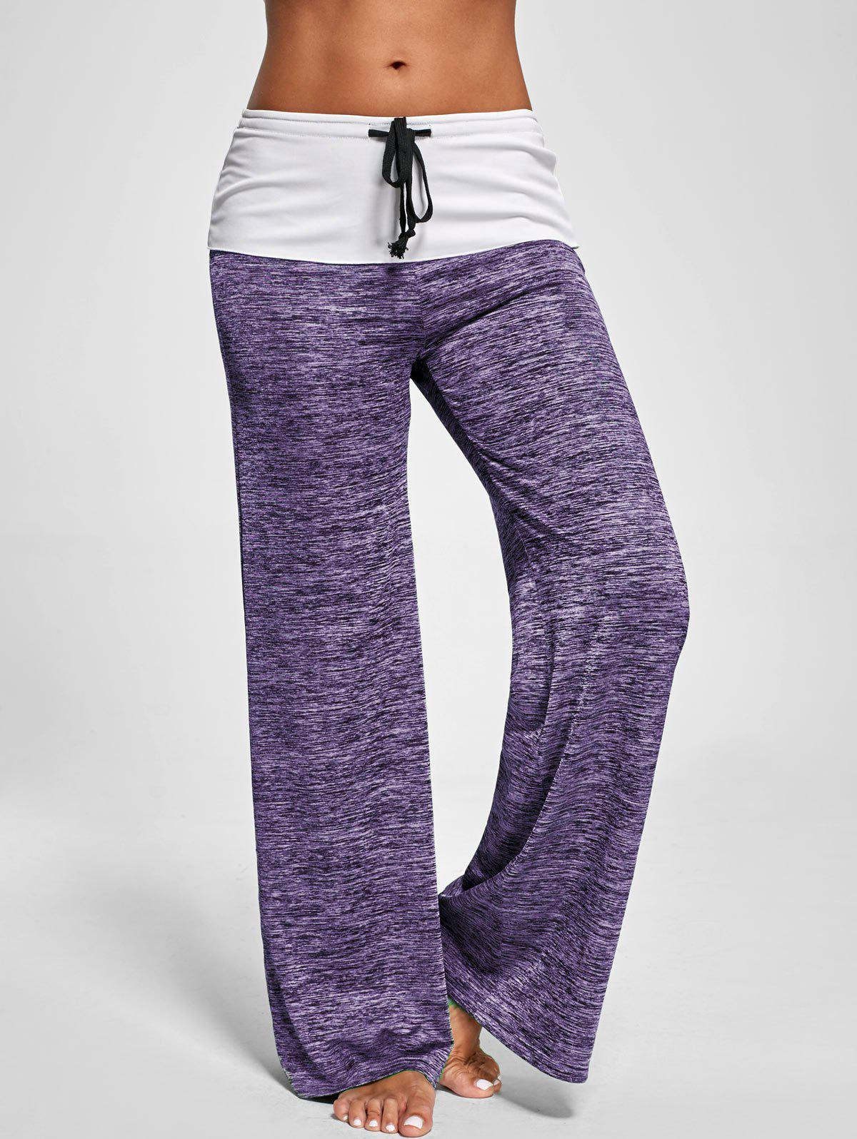 Foldover Heather Palazzo PantsWOMEN<br><br>Size: L; Color: PURPLE; Style: Casual; Length: Normal; Material: Polyester,Spandex; Fit Type: Loose; Waist Type: Mid; Closure Type: Drawstring; Pattern Type: Others; Pant Style: Wide Leg Pants; Weight: 0.2700kg; Package Contents: 1 x Pants;