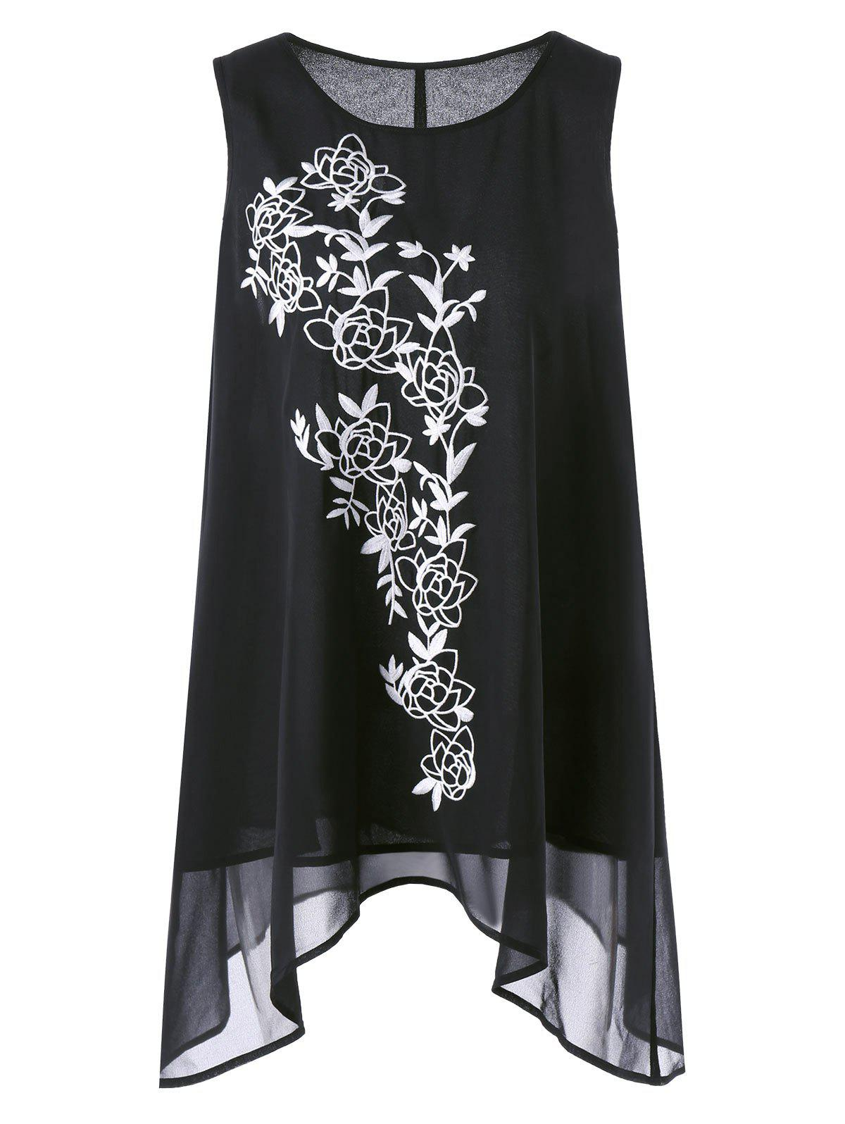 Asymmetric Plus Size Floral Embroidered TopWOMEN<br><br>Size: 2XL; Color: BLACK; Material: Cotton,Polyester; Shirt Length: Long; Sleeve Length: Sleeveless; Collar: Scoop Neck; Style: Casual; Season: Summer; Embellishment: Embroidery; Pattern Type: Floral; Weight: 0.2500kg; Package Contents: 1 x Top;