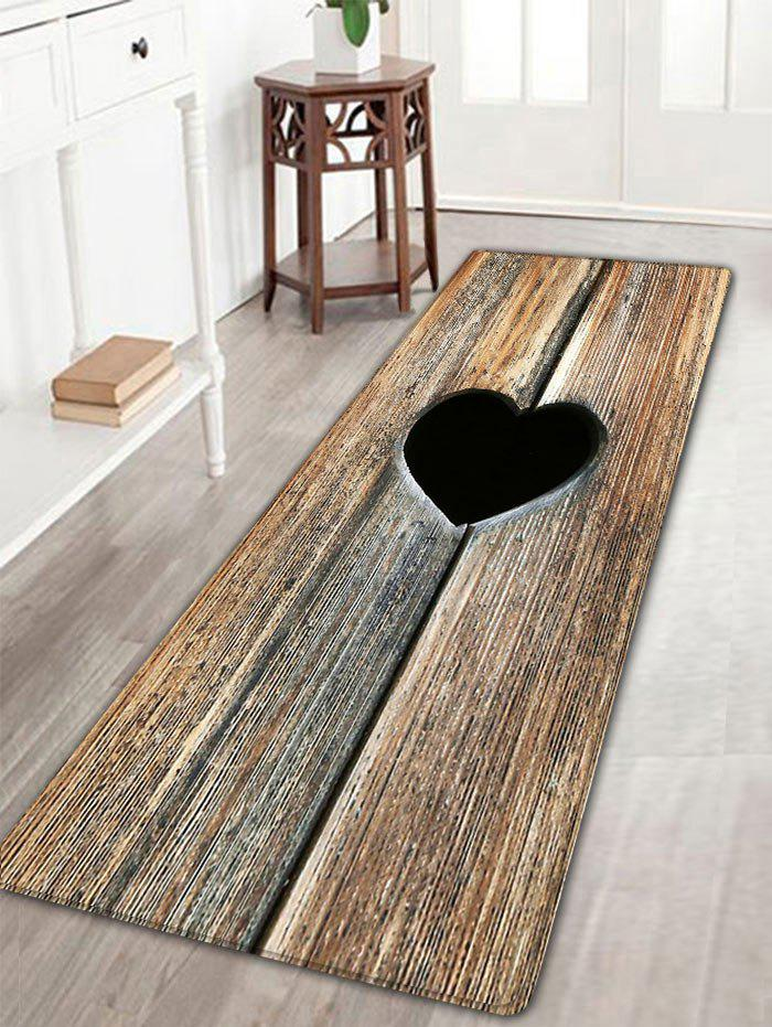 Heart Wood Grain Flannel Antislip Bathroom RugHOME<br><br>Size: W16 INCH * L47 INCH; Color: ROSEWOOD; Products Type: Bath rugs; Materials: Flannel; Pattern: Heart; Style: Vintage; Shape: Rectangle; Package Contents: 1 x Rug;