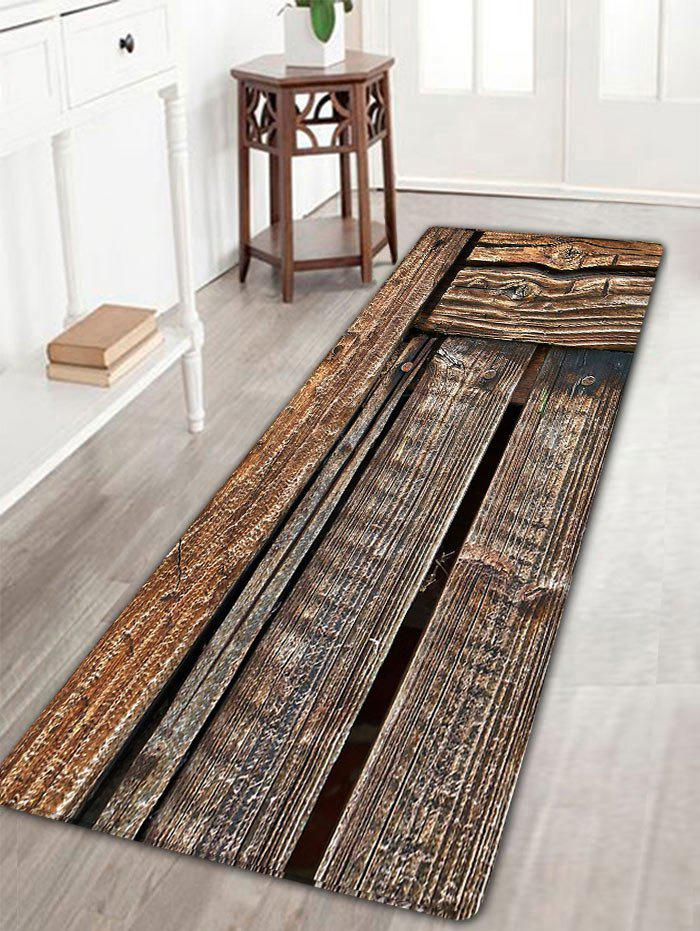Vintage Wood Grain Antiskid Flannel RugHOME<br><br>Size: W16 INCH * L47 INCH; Color: WOOD COLOR; Products Type: Bath rugs; Materials: Flannel; Pattern: Print; Style: Vintage; Shape: Rectangle; Package Contents: 1 x Rug;