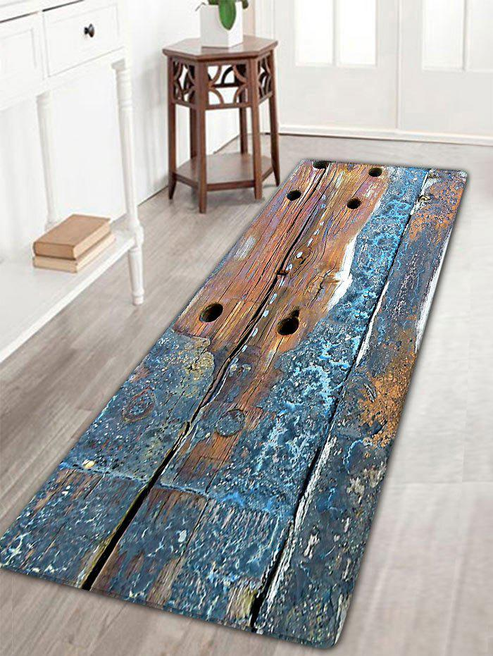 Retro Wood Grain Antiskid Flannel RugHOME<br><br>Size: W16 INCH * L47 INCH; Color: BLUE GRAY; Products Type: Bath rugs; Materials: Flannel; Pattern: Print; Style: Vintage; Shape: Rectangle; Package Contents: 1 x Rug;