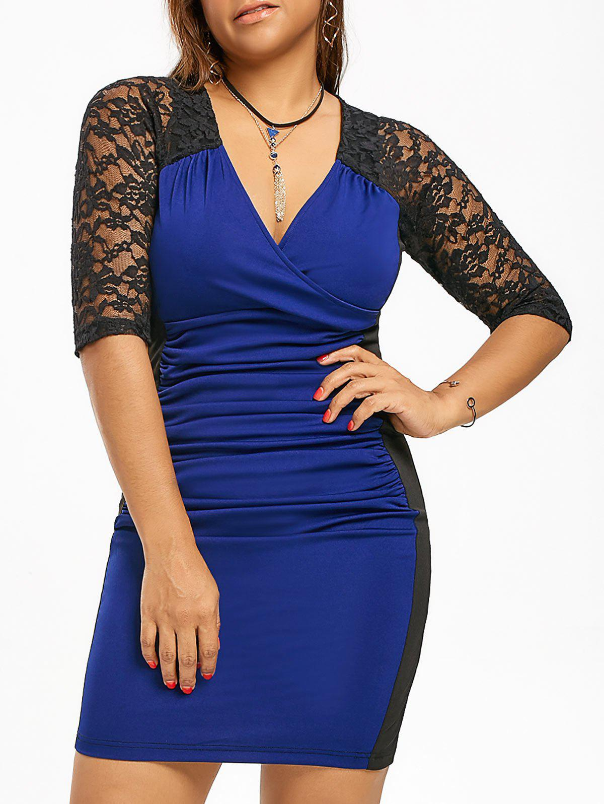 Ruched Lace Insert Plus Size Sheath DressWOMEN<br><br>Size: 3XL; Color: BLUE AND BLACK; Style: Brief; Material: Polyester,Spandex; Silhouette: Bodycon; Dresses Length: Mini; Neckline: V-Neck; Sleeve Length: 3/4 Length Sleeves; Embellishment: Lace; Pattern Type: Others; With Belt: No; Season: Fall,Spring,Summer; Weight: 0.3160kg; Package Contents: 1 x Dress;