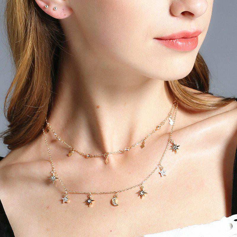 Rhinestone Moon Sun Star Necklace SetJEWELRY<br><br>Color: GOLDEN; Item Type: Pendant Necklace; Gender: For Women; Necklace Type: Link Chain; Style: Trendy; Shape/Pattern: Moon,Star; Length: 45CM/55CM; Weight: 0.0300kg; Package Contents: 2 x Necklaces (Piece);