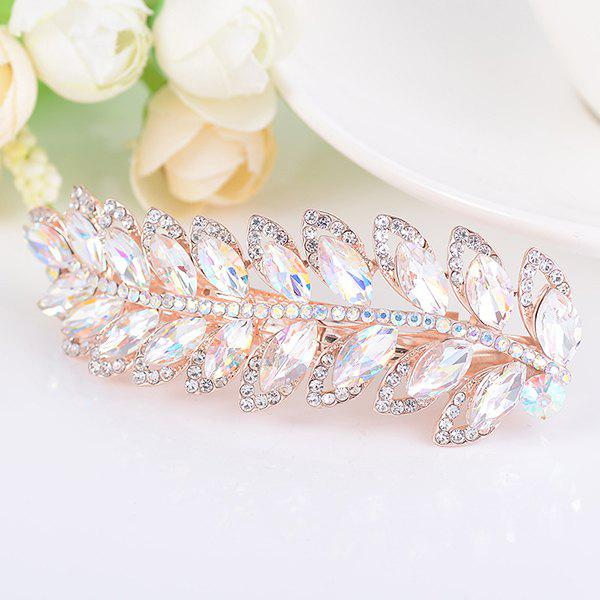 Rhinestone Faux Gem Leaf Shape BarretteACCESSORIES<br><br>Color: WHITE; Headwear Type: Barrette; Group: Adult; Gender: For Women; Style: Fashion; Shape/Pattern: Others; Material: Alloy; Weight: 0.0100kg; Package Contents: 1 x Barrette;