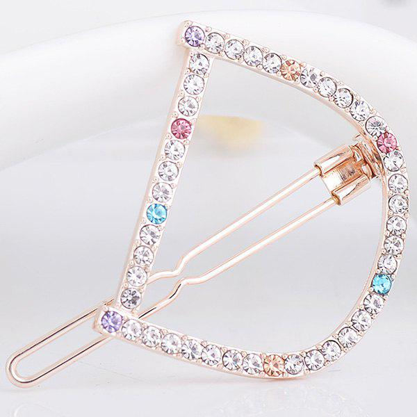 Strass Hollow Out Letter D Hair Clip