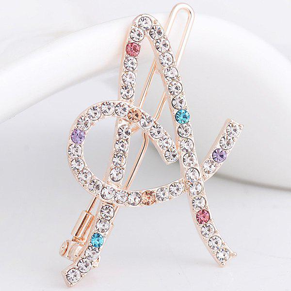 Rhinestone Hollow Out Letter A Hair ClipACCESSORIES<br><br>Color: COLORFUL; Headwear Type: Barrette; Group: Adult; Gender: For Women; Style: Fashion; Shape/Pattern: Letter; Material: Alloy; Weight: 0.0500kg; Package Contents: 1 x Hair Clip;