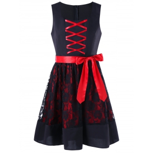 Sleeveless Lace Up Two Tone Dress - Red With Black - L