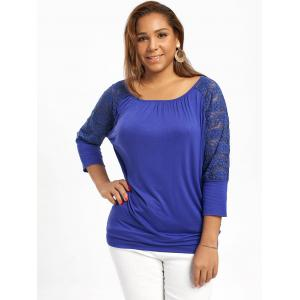 Plus Size Raglan Sleeve Lace Trim Top -