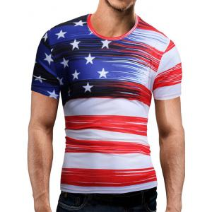 Short Sleeve American Flag Print Tee - White - M