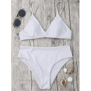 Spaghetti Strap High Waisted Bikini Set - White - M