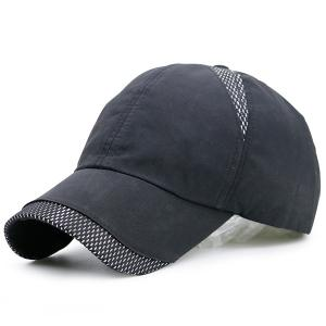 Mesh Insert Color Block Baseball Hat - Deep Gray - One Size
