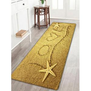Love Heart Beach Print Flannel Skidproof Rug