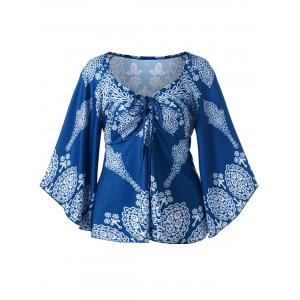 Flare Sleeve Plus Size Print Bohemian Blouse - Colormix - 5xl