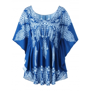 Plus Size Print Butterfly Sleeve Top - Colormix - 5xl