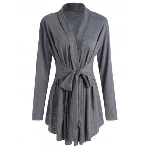 Marled Wrap Cardigan - Gray - Xl