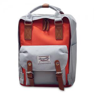 Color Blocking Canvas Backpack - Gray