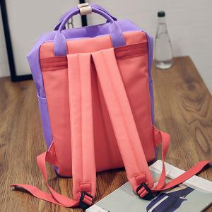 Color Blocking Canvas Backpack - PURPLE