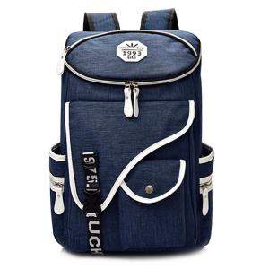 Casual Padded Strap Nylon Backpack - Deep Blue