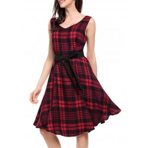 V Neck Plaid Swing Dress
