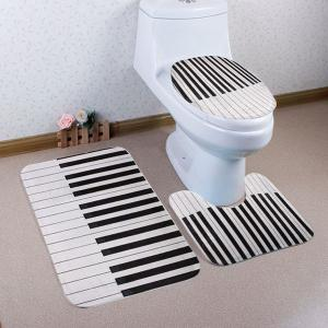 Piano Key Pattern 3 Pcs Toilet Mat Bath Mat