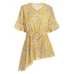 Plus Size Chiffon Floral Peplum Top - Yellow - 3xl