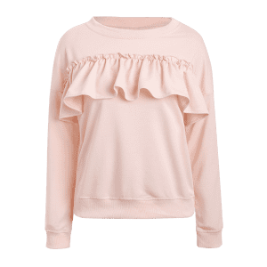 Jewel Neck Ruffles Sweatshirt - PINK M