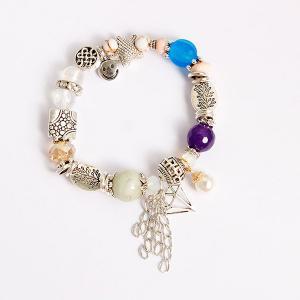 Starfish Fringed Smile Charm Beaded Bracelet