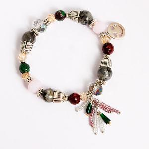 Artificial Crystal Smile Charm Beaded Bracelet