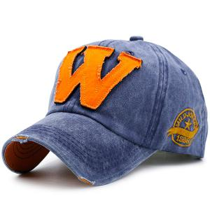 Letter W Shape Make Old Baseball Hat - Blue - One Size