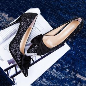 Mini Heel Glitter Bow Pumps - Noir 37
