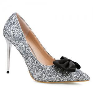 Mini Heel Glitter Bow Pumps