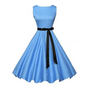 Polka Dot Sleeveless Vintage Dress with Belt - Blue - M