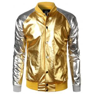 Two Tone Metallic Raglan Sleeve Bomber Jacket