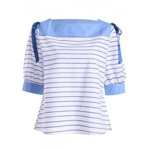 Lace Up Slash Neck Stripe Top - Blue Stripe - Xl