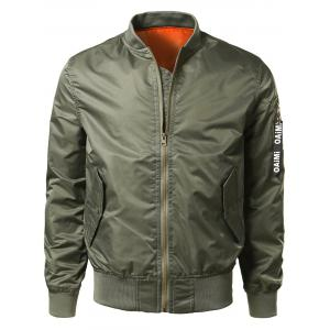 Zipper Up Bomber Jacket with Pocket Detail