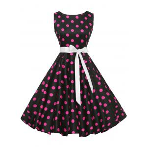 Sleeveless Polka Dot Vintage Dress with Belt - Plum - 2xl