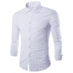 Polka Dot and Flower Print Long Sleeve Shirt