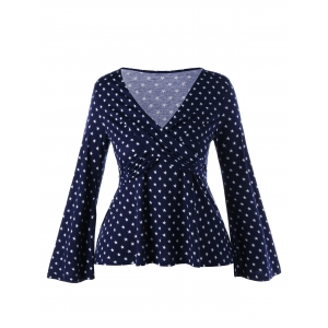 Plus Size Star Bell Sleeve Peplum Top