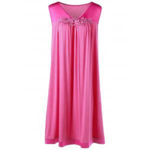 Plus Size Applique Sleeveless Trapeze Dress