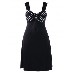 Plus Size Polka Dot Empire Waist Sleeveless Dress - White And Black - 2xl