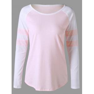 Two Tone Raglan Sleeve Curved Top
