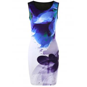 Ink Printing Ombre Sleeveless Bodycon Dress