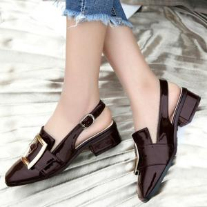 Double Buckle Strap Slingback Pumps - BORDEAUX 39
