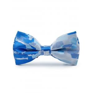 Jacquard Pattern Faux Silk Bow Tie - Light Blue - 38