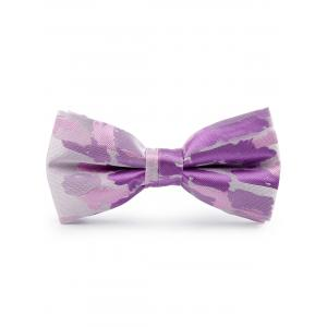 Jacquard Pattern Faux Silk Bow Tie - Purple