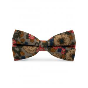Cotton Blend Tiny Floral Pattern Bow Tie - Gray