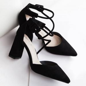 Pointed Toe Block Heel Pumps - BLACK 37