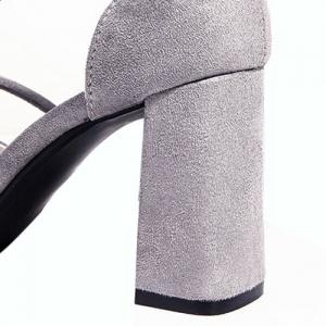 Pointed Toe Block Heel Pumps - GRAY 39