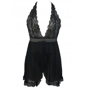 Plunging Neck Ruffled Mesh Babydoll