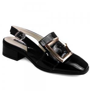 Double Buckle Strap Slingback Pumps - Black - 39